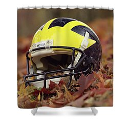 Shower Curtain featuring the photograph Wolverine Helmet In October Leaves by Michigan Helmet