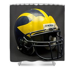 Shower Curtain featuring the photograph Wolverine Helmet Of The 2000s Era by Michigan Helmet