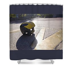 Shower Curtain featuring the photograph Wolverine Helmet On The Diag by Michigan Helmet