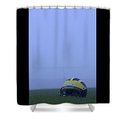 Shower Curtain featuring the photograph Wolverine Helmet On The Field In Heavy Fog by Michigan Helmet