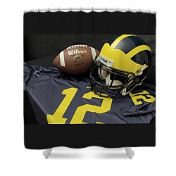 Wolverine Helmet With Football And Jersey Shower Curtain