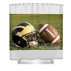 Wolverine Helmet With Football On The Field Shower Curtain