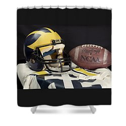 Wolverine Helmet With Jersey And Football Shower Curtain