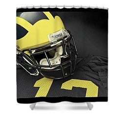Wolverine Helmet With Jersey Shower Curtain