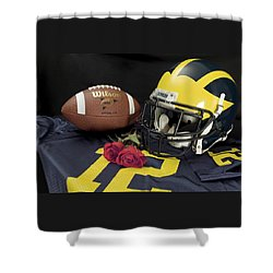 Wolverine Helmet With Roses, Jersey, And Football Shower Curtain