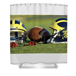 Shower Curtain featuring the photograph Wolverine Helmets And Roses by Michigan Helmet