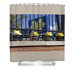 Wolverine Helmets Of Different Eras On Stadium Wall Shower Curtain
