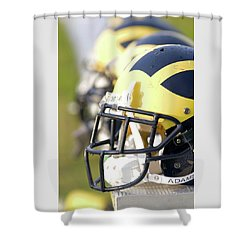 Shower Curtain featuring the photograph Wolverine Helmets On A Bench In The Morning by Michigan Helmet