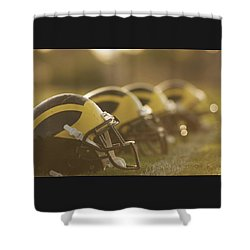 Shower Curtain featuring the photograph Wolverine Helmets Sparkling In Dawn Sunlight by Michigan Helmet