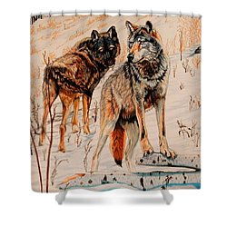 Wolves At Day Break Shower Curtain