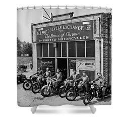 The Motor Maids Of America Outside The Shop They Used As Their Headquarters, 1950. Shower Curtain