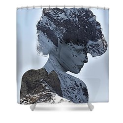 Woman And A Snowy Mountain Shower Curtain