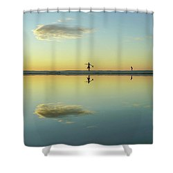 Woman And Cloud Reflected On Beach Lagoon At Sunset Shower Curtain
