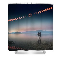 Woman And Girl Standing In Lake Watching Solar Eclipse Shower Curtain