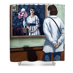 Shower Curtain featuring the painting Woman At Art Museum Figurative Painting by Linda Apple