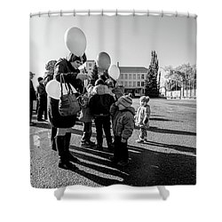 Shower Curtain featuring the photograph Woman Balloon And Boy by John Williams
