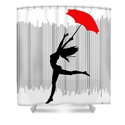 Woman Dancing In The Rain With Red Umbrella Shower Curtain
