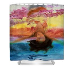 Woman Engulfed Shower Curtain
