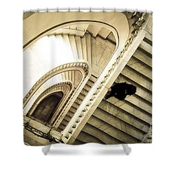 Woman Going Down At Staircase Shower Curtain by Perry Van Munster