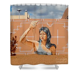 Woman Holding The Sands Of Time Shower Curtain