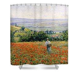 Woman In A Poppy Field Shower Curtain by Leon Giran Max