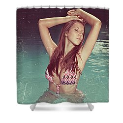 Woman In Bikini In The Water And Retro Look Image Finish Shower Curtain