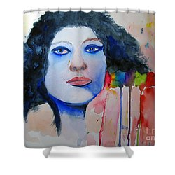 Woman In Blue Shower Curtain