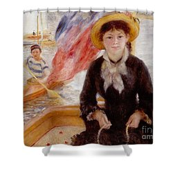 Woman In Boat With Canoeist Shower Curtain by Renoir
