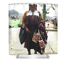 Woman In Chiapas. Shower Curtain by Shlomo Zangilevitch