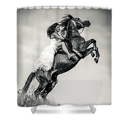 Shower Curtain featuring the photograph Woman In Dress Riding Chestnut Black Rearing Stallion by Dimitar Hristov