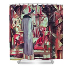 Woman In Front Of A Large Illuminated Window Shower Curtain