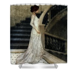 Woman In Lace Gown On Staircase Shower Curtain by Jill Battaglia