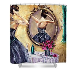 Woman In Mirror Shower Curtain by Jennifer Beaudet