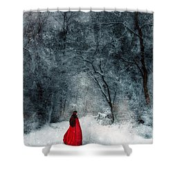 Woman In Red Cape Walking In Snowy Woods Shower Curtain by Jill Battaglia