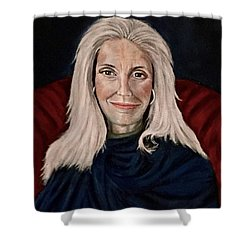 Woman In Red Chair Shower Curtain
