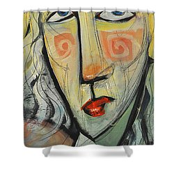 Woman In Red Hat Shower Curtain by Tim Nyberg