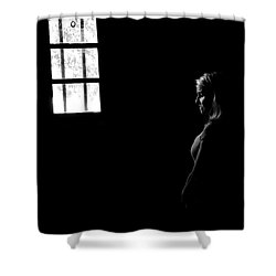Woman In The Dark Room Shower Curtain