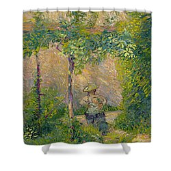 Woman In The Garden Shower Curtain by Hippolyte Petitjean