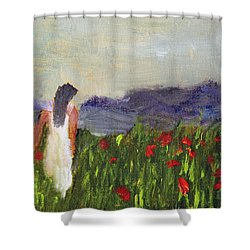 Shower Curtain featuring the painting Woman In White by Michael Helfen