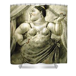 woman performer Botero Shower Curtain by Ted Pollard