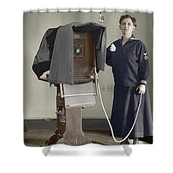 Woman Photographer With Large Camera 1900 Shower Curtain