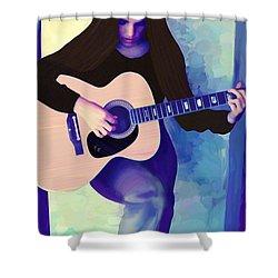 Woman Playing Guitar Shower Curtain