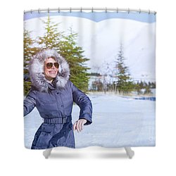 Woman Playing In Winter Park Shower Curtain