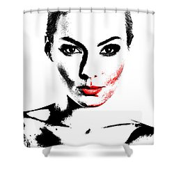 Woman Portrait In Art Look Shower Curtain
