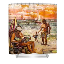 Woman Reading On The Beach Shower Curtain by Stan Esson