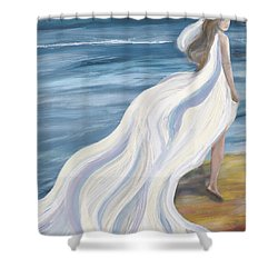 Woman Strolling On The Beach Shower Curtain