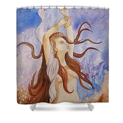 Shower Curtain featuring the painting Woman Unleashed by Teresa Beyer