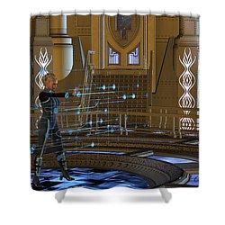 Woman Using Hologram Shower Curtain