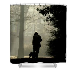 Shower Curtain featuring the photograph Woman Walking Dog by Patricia Hofmeester
