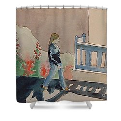 Woman Walking Down Nusbaum Street Shower Curtain